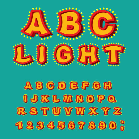 light abc: Light ABC. Retro Alphabet with lamps. Glowing letters. font pointer with shine bulb. Vintage Glittering lights lettering