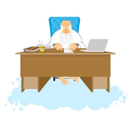 God job. Almighty of work place in heaven. Boss of paradise. Grandfather with beard at work. Holy of work desk. Laptop and phone. Cup of coffee and Bible. table in cloud Illustration