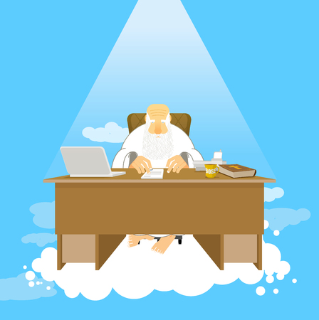 Boss of paradise. God job. Almighty of work place in heaven. Grandfather with beard at work. Holy of work desk. Laptop and phone. Cup of coffee and Bible. table in cloud