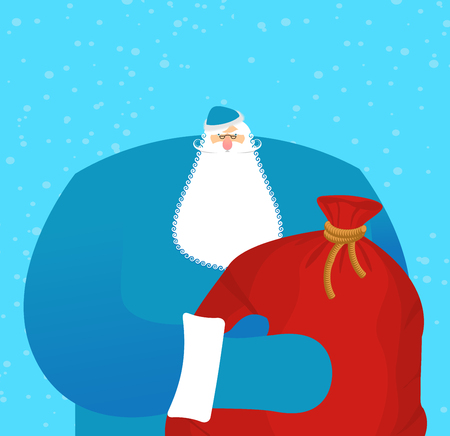 Father frost Russian Santa Claus. Great grandfather in blue suit and big red bag with gifts for children. National folk hero New Year. Character for Christmas in Russia. Illustration