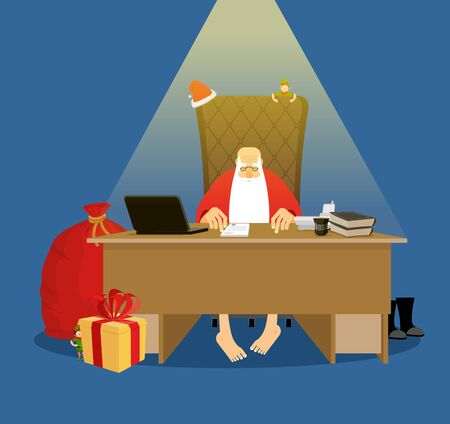 lapland: Santa office. Working residence in Lapland. Christmas big boss in Work. Jobs and armchair chief. Elf helper in green suit. Large red sack of gifts for children. New Year festive decorated Christmas tree.