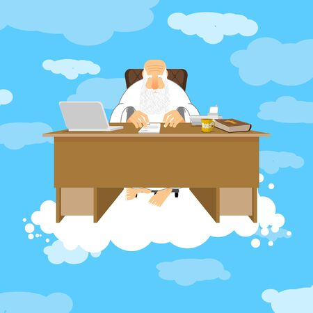 God sitting in office. Almighty of work place in heaven. Grandfather with beard at work. Holy of work desk. Laptop and phone. Cup of coffee and Bible. Boss of paradise. Job table in cloud Illustration