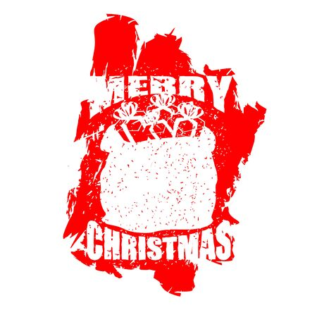 Santa Claus red bag in grunge style. Spray and scratches. Noise and brush strokes. Printing for New Year. Merry Christmas sack with gifts Illustration