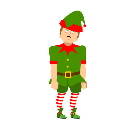 Sad Christmas Elf. sorrowful helper of Santa Claus. dull little man in green suit. XMAS character for new year Illustration