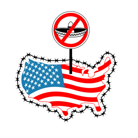 US closes border with Mexico. Stop sombrero. Map of America with barbed wire. America closes borderline in relation to immigrants and refugees. Country protects its scope. USA flag. Surrounded by perimeter fence. Ban illegal migration Illustration