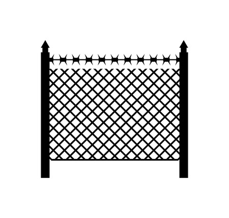 boundary: Boundary fence with barbed wire. Border Protection. Protections