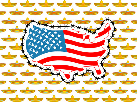 US closes border with Mexico. Stop sombrero. Map of America with barbed wire. America closes borderline in relation to immigrants and refugees. Country protects its scope. USA flag. Surrounded by perimeter fence. Ban illegal migration. Many sombrero