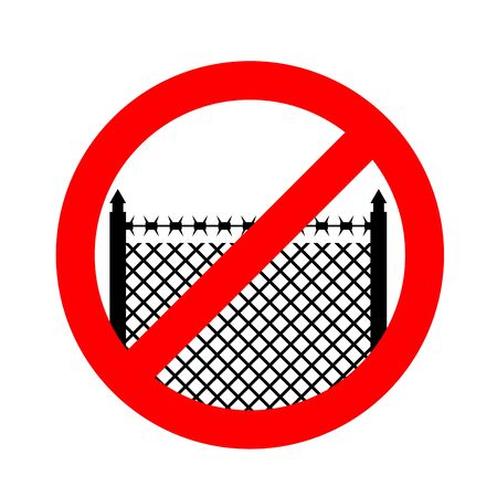 Stop border. Prohibited fences with barbed wire.. Red prohibition sign. Cross out perimeter fence