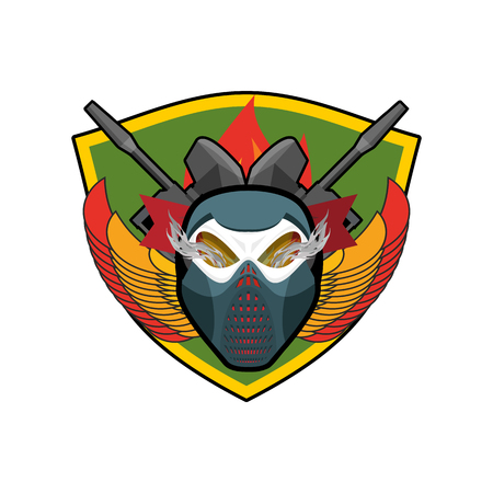 Paintball . Military emblem. Army sign. Skull in protective mask and weapons. Awesome badge for sports teams and clubs