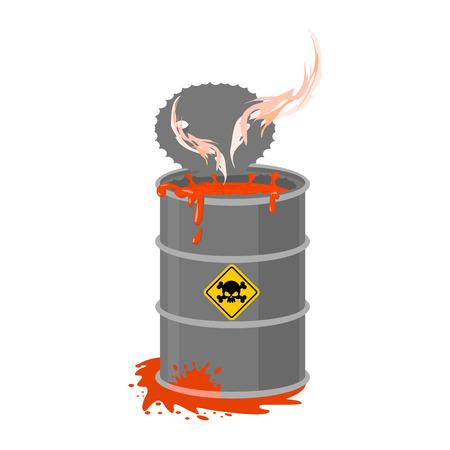 Radioactive waste barrel. Toxic refuse keg. Poisonous liquid cask. Chemical garbage emissions. environmental pollution. danger of ecological disaster Illustration