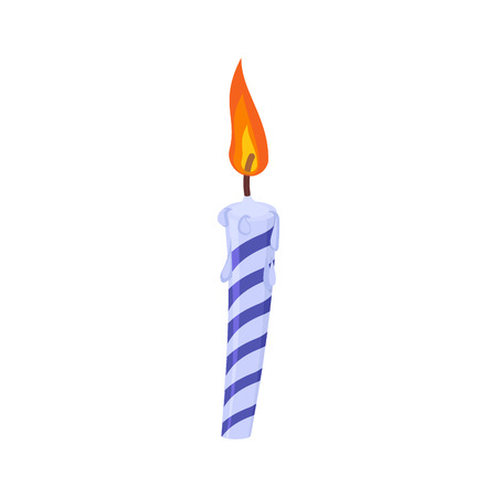 Candle birthday cake. Festive blue candle isolated