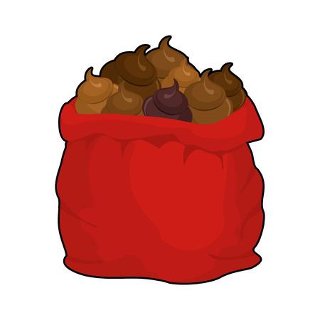 Santa shit bag. Full sack turd. Big red Christmas sackful poop. Bad gift for nasty people Illustration