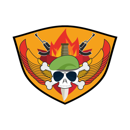 troops: Military emblem Skull in beret.  Wings and weapons. Army . Soldiers badge. Eagle and guns. Awesome sign for troops. blazon commando