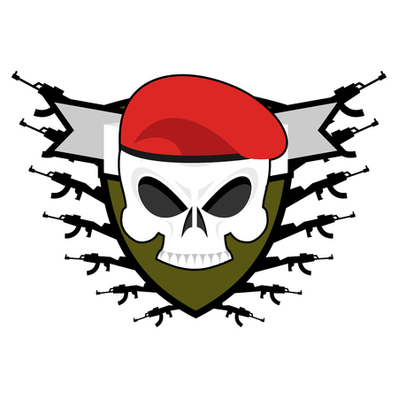 Military emblem. Army . Soldiers badge. Skull in beret. Wings and weapons. Eagle and guns. Awesome sign for troops. blazon commando Stock Illustratie