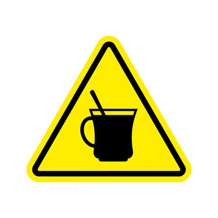 コーヒー警告標識の黄色。紅茶危険注意記号を飲みます。危険道路標識三角形カップ  イラスト・ベクター素材