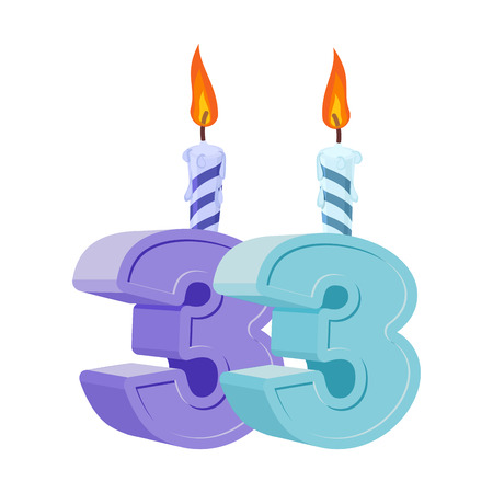 33 years birthday. Number with festive candle for holiday cake. Thirty three Anniversary Illustration