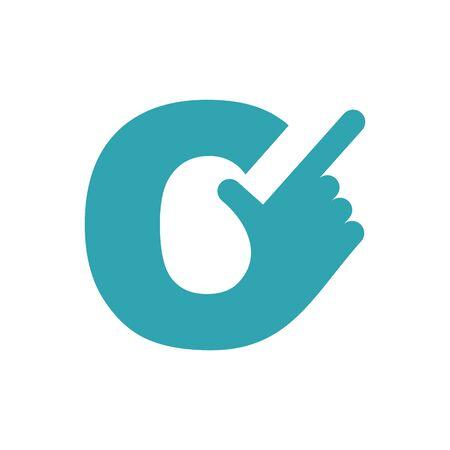 forefinger: C letter hand. Forefinger lettering isolated on white background