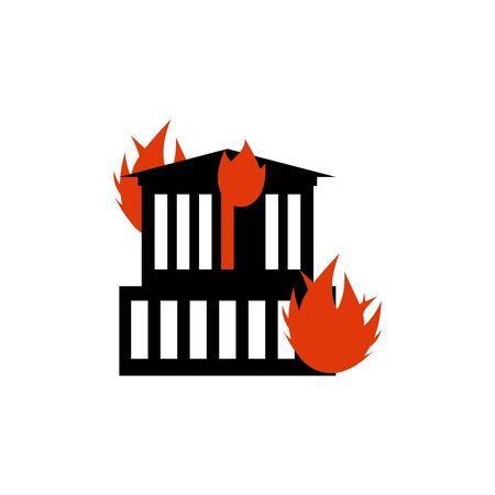 conflagration: Burn building. Fire in facility. Arson home. Flames from office windows. Spontaneous disaster. Apocalypse on earth