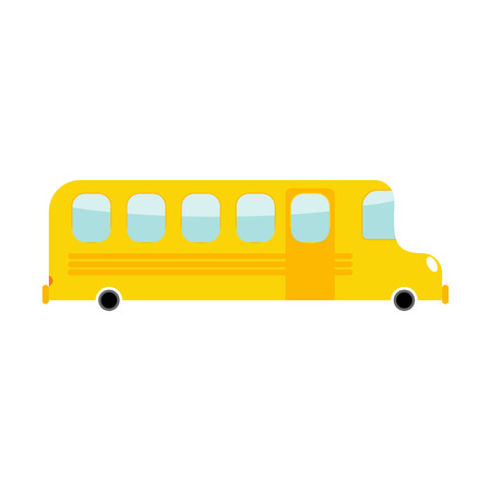 School Bus cartoon style. Transport on white background. Car isolated