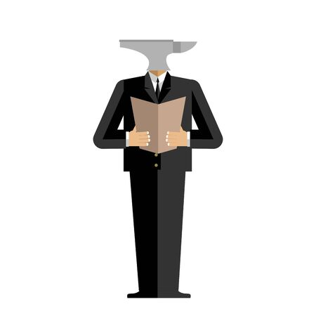 incus: Man anvil businessman. harsh boss. incus manager. Tool in human clothes Illustration