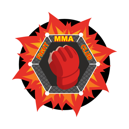combat: MMA . Fighting glove. Emblem for sports team and club. Combat badge for athletes Illustration