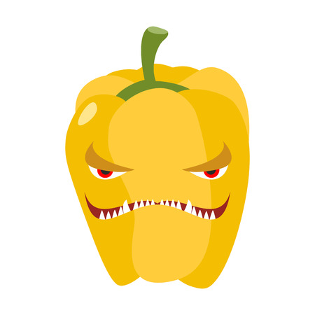 Angry sweet pepper. Aggressive yellow vegetable. Dangerous fruit