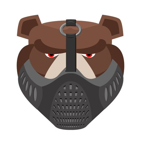 protective mask: Angry bear in protective mask. Aggressive Grizzly head. Wild animal muzzle isolated. Forest predator