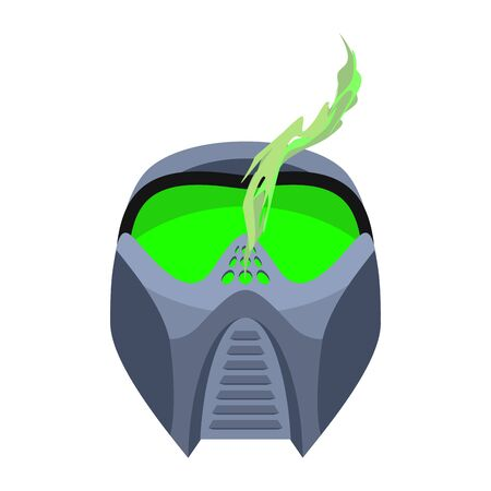 extreme science: paintball mask. Protective helmet Scary. Sports respirator future. Alien motorcycle helm Illustration