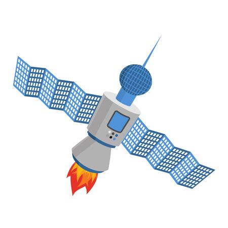 Sputnik isolated. satellite white background. galaxy Space transmitter
