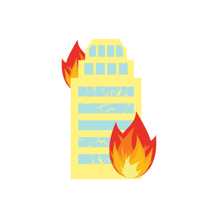 wroclaw: Fire in building. Flames from office windows. Arson home. Burn facility. Spontaneous disaster. Apocalypse on earth Illustration