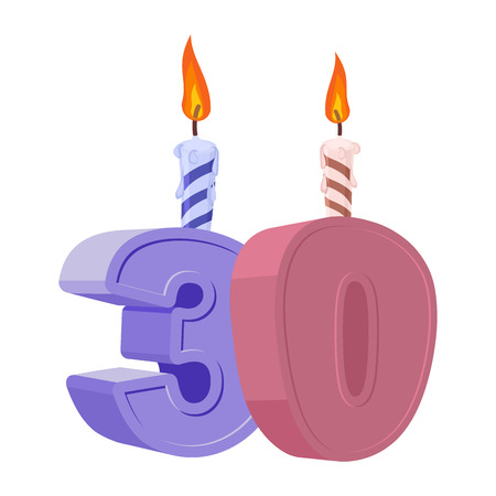 30 years birthday. Number with festive candle for holiday cake. Thirty Anniversary