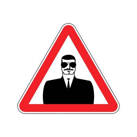 Spy Warning sign red. Secret Agent Hazard attention symbol. Danger road sign triangle snoop Illustration