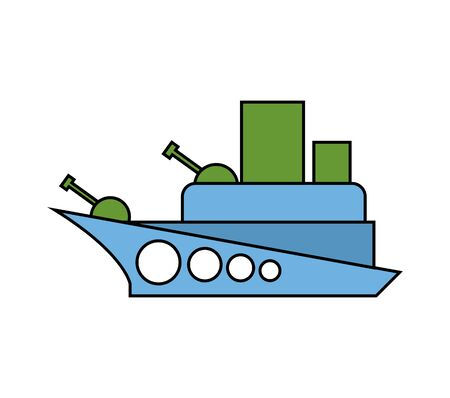 child's drawing: Warship childs drawing style. Military Combat Boat isolated