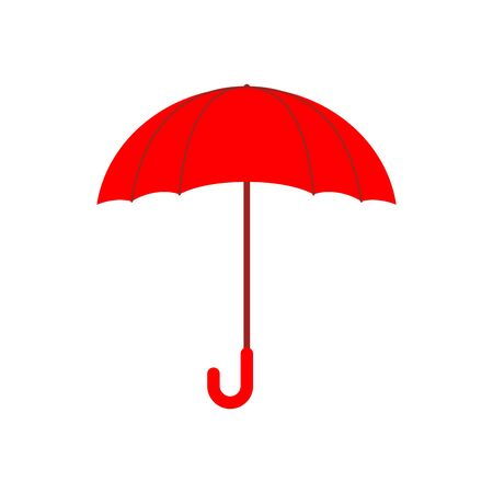 brolly: Red umbrella isolated. Accessory of rain on white background. Illustration