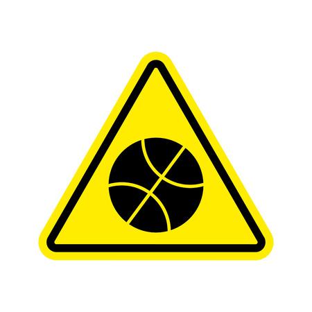 Basketball Warning sign yellow. game Hazard attention symbol. Danger road sign triangle ball