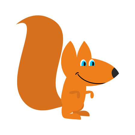 Squirrel isolated. Funny wild animal with bushy tail Illustration