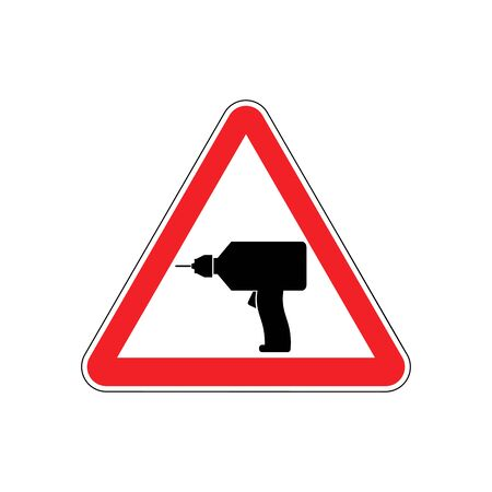 cordless: Drill Warning sign red. Repair Hazard attention symbol. Danger road sign triangle bit