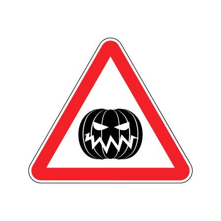 hazardous imperil: Halloween Warning sign red. Masquerade Hazard attention symbol. Danger road sign triangle pumpkin