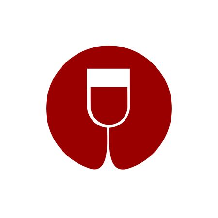 Wine glass . Sommelier emblem. Abstract red drink alcohol