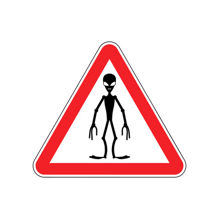 UFO Warning sign red. Alien Hazard attention symbol. Danger road sign triangle invader