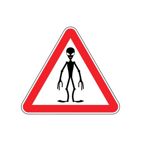 hazardous imperil: UFO Warning sign red. Alien Hazard attention symbol. Danger road sign triangle invader