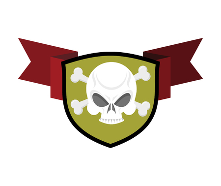 skull and crossed bones: Skull and shield. Crossed bones and skeleton head emblem. Heraldry sign.