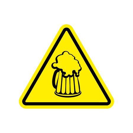 Beer Warning sign yellow. Alcohol Hazard attention symbol. Danger road sign triangle beer mug Illustration