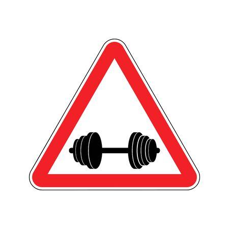 Aufmerksamkeit Sport. Zeichen Warnung vor Gefahr Hantel. Gefahr Schild rotes Dreieck. Fitness auf dem Weg Vektorgrafik