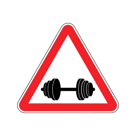 Attention sport. Sign warning of danger dumbbell. Danger road sign red triangle. Fitness on way Illustration