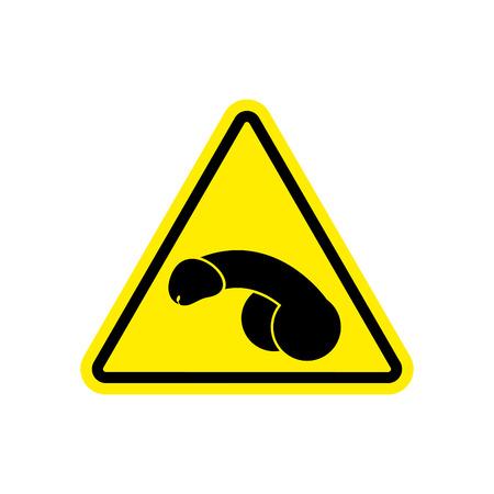 Penis Warning Feminist sign yellow. Member Hazard attention symbol. Danger road sign triangle dick