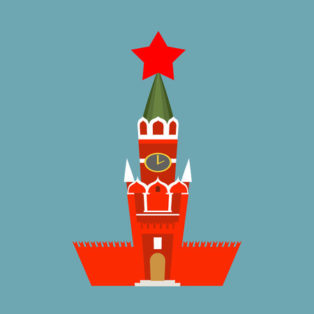 spasskaya: Moscow Kremlin cartoon style isolated. Spasskaya Tower on Red Square ni Russia. National Landmark in Red Square Illustration
