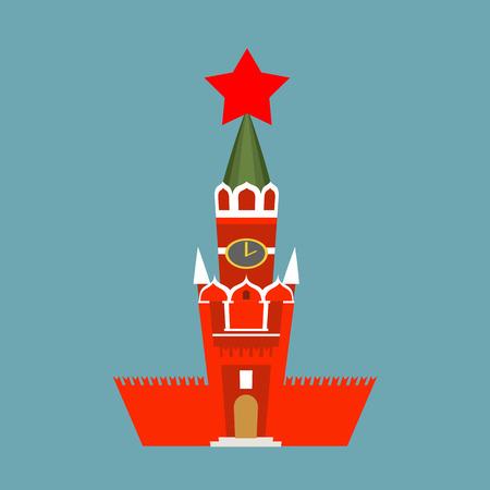 national landmark: Moscow Kremlin cartoon style isolated. Spasskaya Tower on Red Square ni Russia. National Landmark in Red Square Illustration
