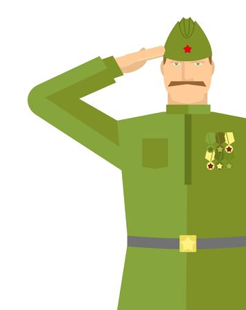 Russian veteran soldiers salute. Retro military. Vintage soldier. 9 may illustration. Holiday in Russia Illustration