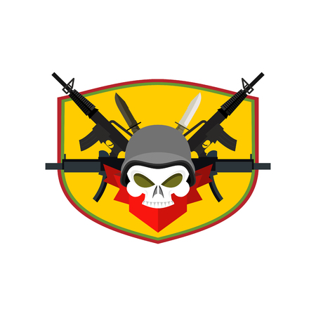 corps: Army Skull. Soldiers badge. Military emblem. Wings and weapons. Eagle and guns. Awesome sign for troops. blazon commando Illustration